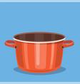 black cooking pot empty red saucepan vector image