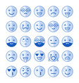 blue flat icons of emoticons smile with a beard vector image vector image