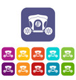 brougham icons set flat vector image vector image