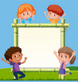 children at the bamboo board vector image