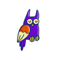 colorful cartoon owl on white background vector image vector image