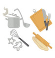 cooking kitchenware utensils and baking cutlery vector image vector image