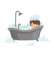 cute boy taking bath with foam adorable little vector image