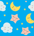 Cute clouds star and moons seamless patter