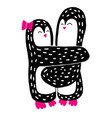 cute penguins set-happy valentines day a pair of vector image