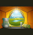 discover the world poster view from inside a tent vector image vector image