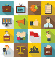 election voting icons set flat style vector image