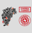 electric mosaic jiangxi province map and vector image vector image