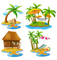 four scenes of islands and sea vector image vector image