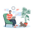 freelancer works at home flat vector image vector image