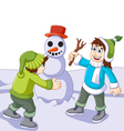 funny children cartoon playing with snowman in sno vector image vector image