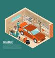 garage inside isometric vector image vector image