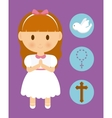 girl kid cartoon dove cross rosary icon vector image vector image