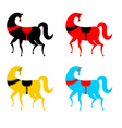 Gorodets painting colored horse set Russian vector image vector image