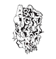 Graffiti font black and white composition vector image