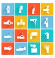 Hand holding objects white set vector image vector image