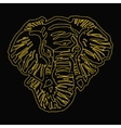 head of elephant yellow outline black background vector image vector image