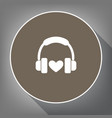 headphones with heart white icon on brown vector image vector image