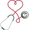 heart shape stethoscope cardiology concept vector image