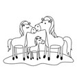 horses couple and foal over grass in black dotted vector image vector image