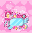 japanese anime cosplay background cute kawaii vector image vector image