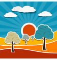 Landscape with Paper Trees vector image vector image