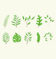 leaf or leaves green tree set collection with vector image