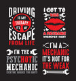 mechanic saying quote set 100 best for print vector image vector image