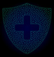 medical shield polygonal frame mesh vector image