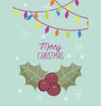 merry christmas celebration mistletoe lights vector image vector image
