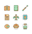 minimal lineart flat travel iconset suitcase vector image vector image