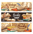 old books feather pens inkwell and paper scroll vector image vector image