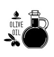 olive oil in a glass bottle and green olives vector image