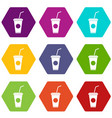 paper cup with straw icon set color hexahedron vector image vector image