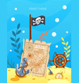 pirate theme cartoon treasure pirate map ocean vector image