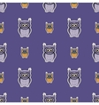 Purple-orange sticker-like owls seamless pattern vector image
