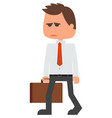 sad businessman tired man character vector image