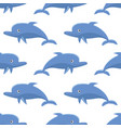 seamless pattern with cartoon dolphins vector image