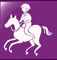 Sport icon for equestrain on purple background vector image vector image