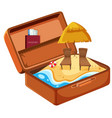 summer beach vacation in suitcase vector image vector image