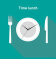 time lunch clock stylish design vector image