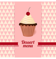 Vintage dessert menu with cherry cream cake vector image vector image