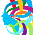 Abstract color silhouette girl vector image