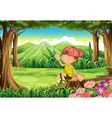 A young boy at the forest sitting above the stump vector image vector image