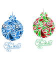 Abstract holidays balls in floral style vector image
