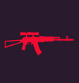 assault rifle automatic gun with optical sight vector image vector image