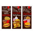 banners for fast food restaurant menu vector image vector image