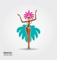 brazil carnival dancer icon vector image