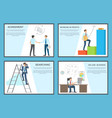 business set of posters depicting diligent workers vector image vector image