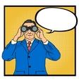 Businessman looking through binoculars vector image vector image
